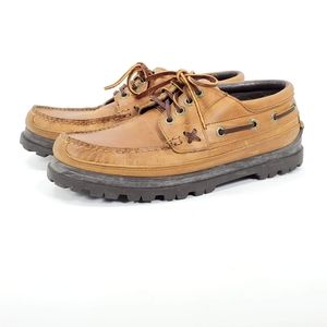 POLO RALPH LAUREN Brown Tan Laced Boat Shoes Boot